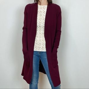 Ann Taylor Maroon Red Long Cardigan Sweater